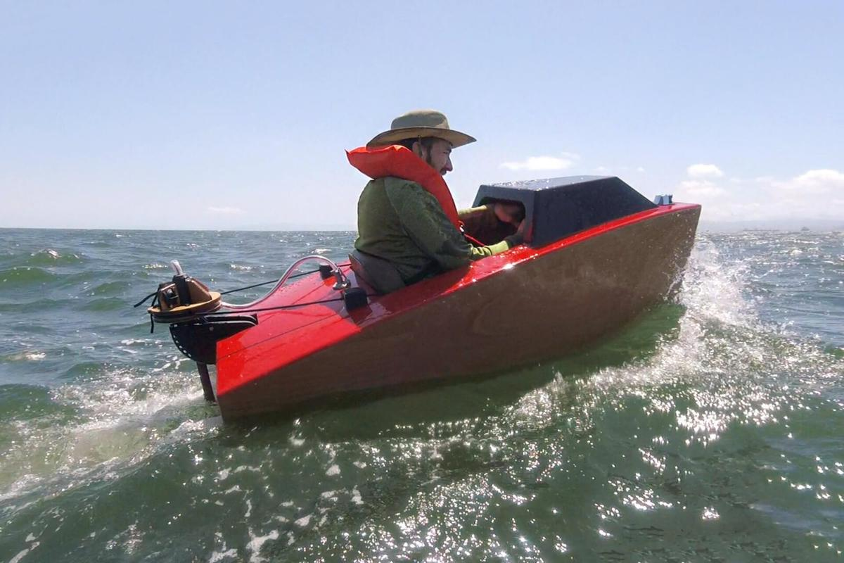 Rapid Whale's Josh Tulberg readily admits to being terrified as he ventured beyond the break-water in his electric Mini Boat