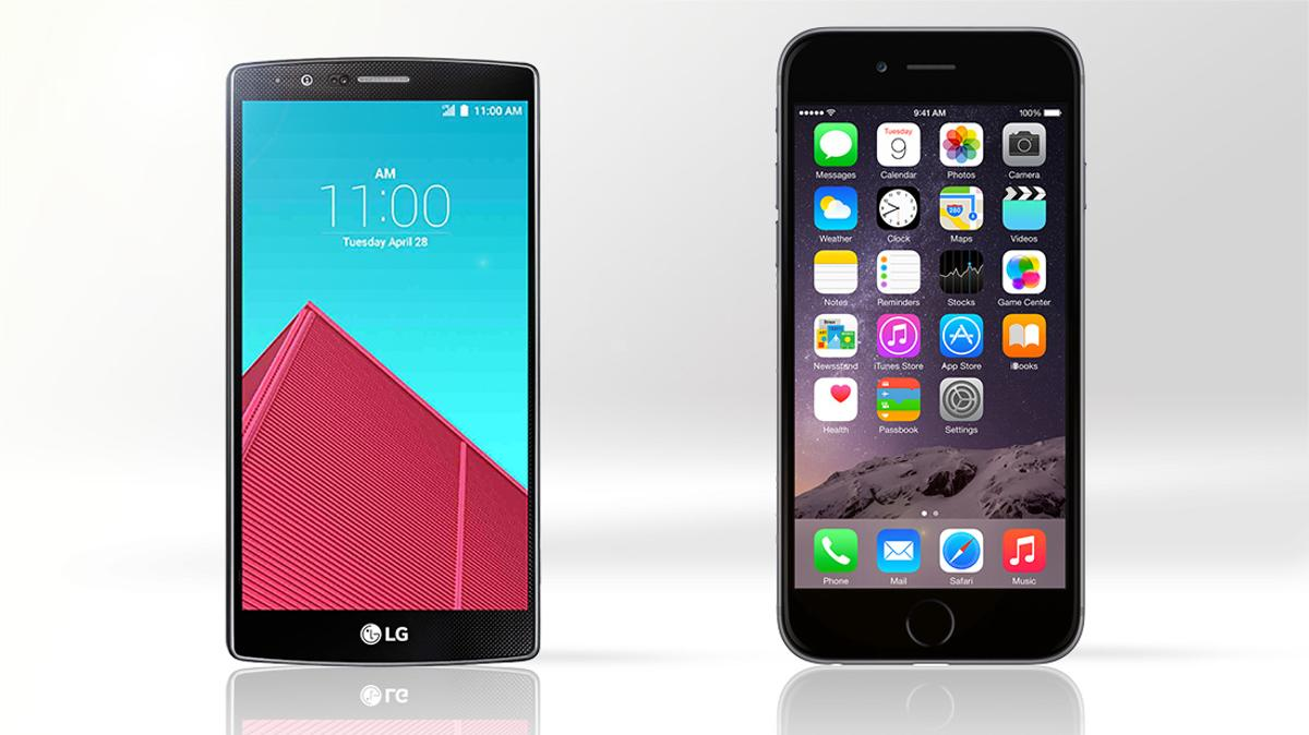 Gizmag compares the features and specs of the LG G4 (left) and Apple iPhone 6 Plus