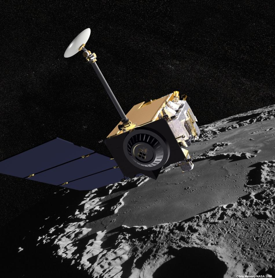 Artist's impression of NASA's Lunar Reconnaissance Orbiter observing Earth's moon