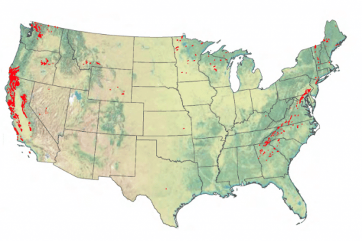 Ultramafic rocks (in red) that potentially could absorb CO2 (Image: U.S. Geological Survey via ldeo)