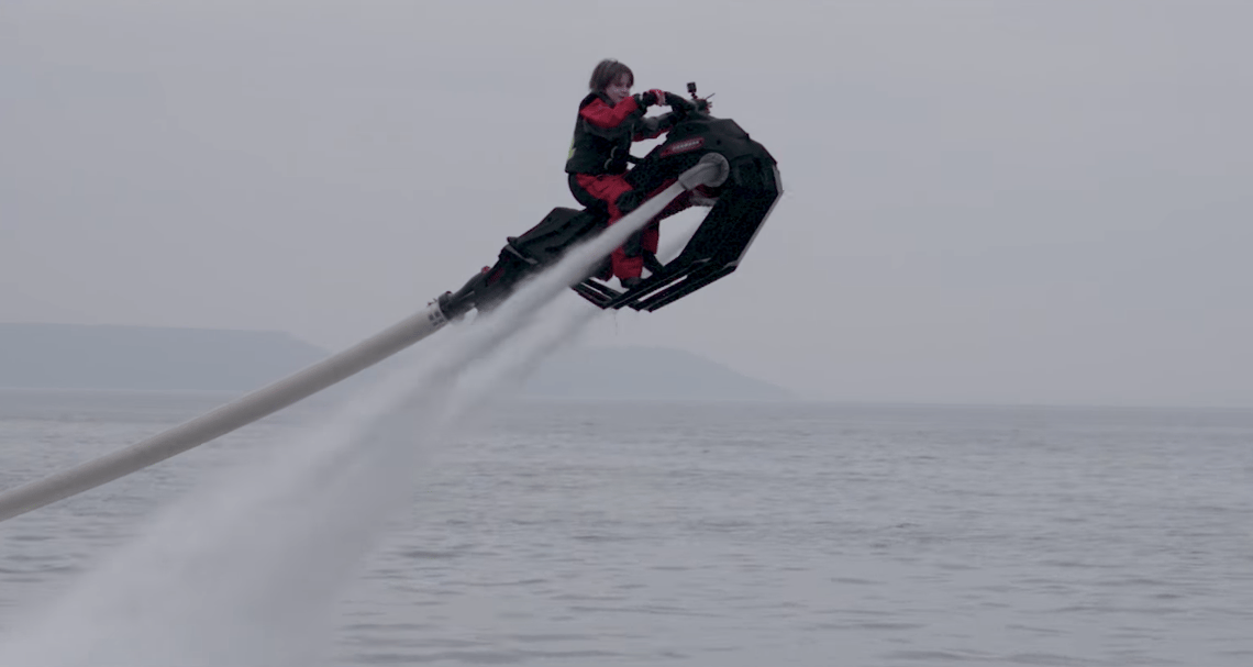 Zapata Flyride: a flying boatercycle powered by a jet ski