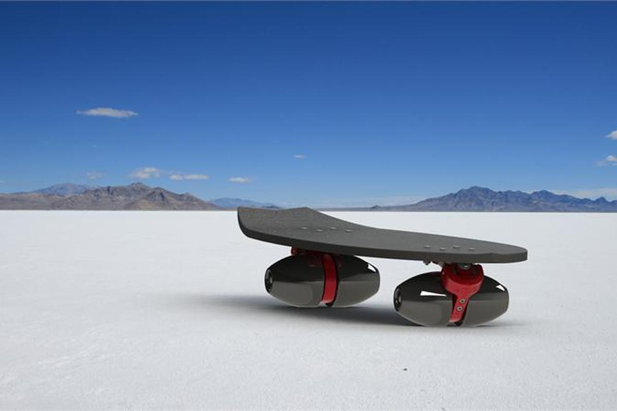 ARIS Sport's Blade Runner skateboards have conical wheels, for better carving