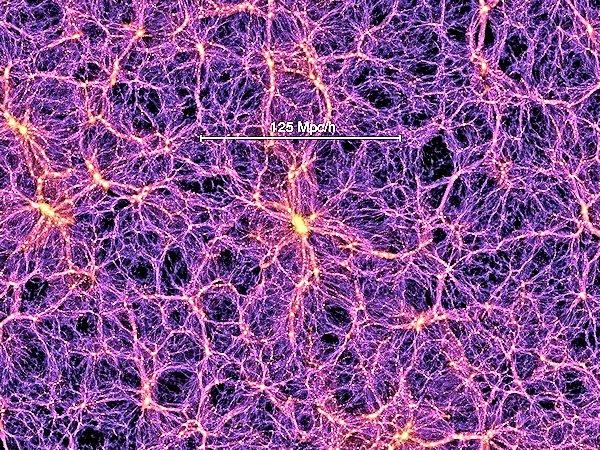 A view of the distribution of dark matter in our universe, based on the Millennium Simulation. The simulation is based on our current ideas about the universe's origin and evolution. It included ten billion particles, and consumed 343,000 cpu-hours