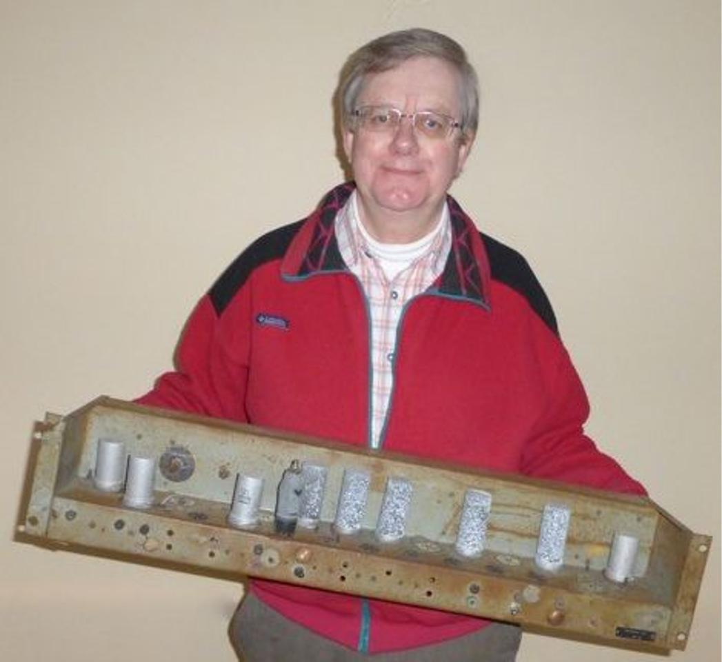 Andrew Herbert, leader of the EDSAC reconstruction project, with the EDSAC chassis