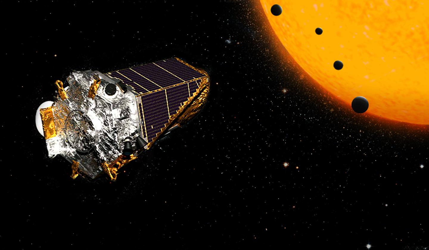 Artists impression of the Kepler Space Telescope observing exoplanets as they pass across the face of their parentstar