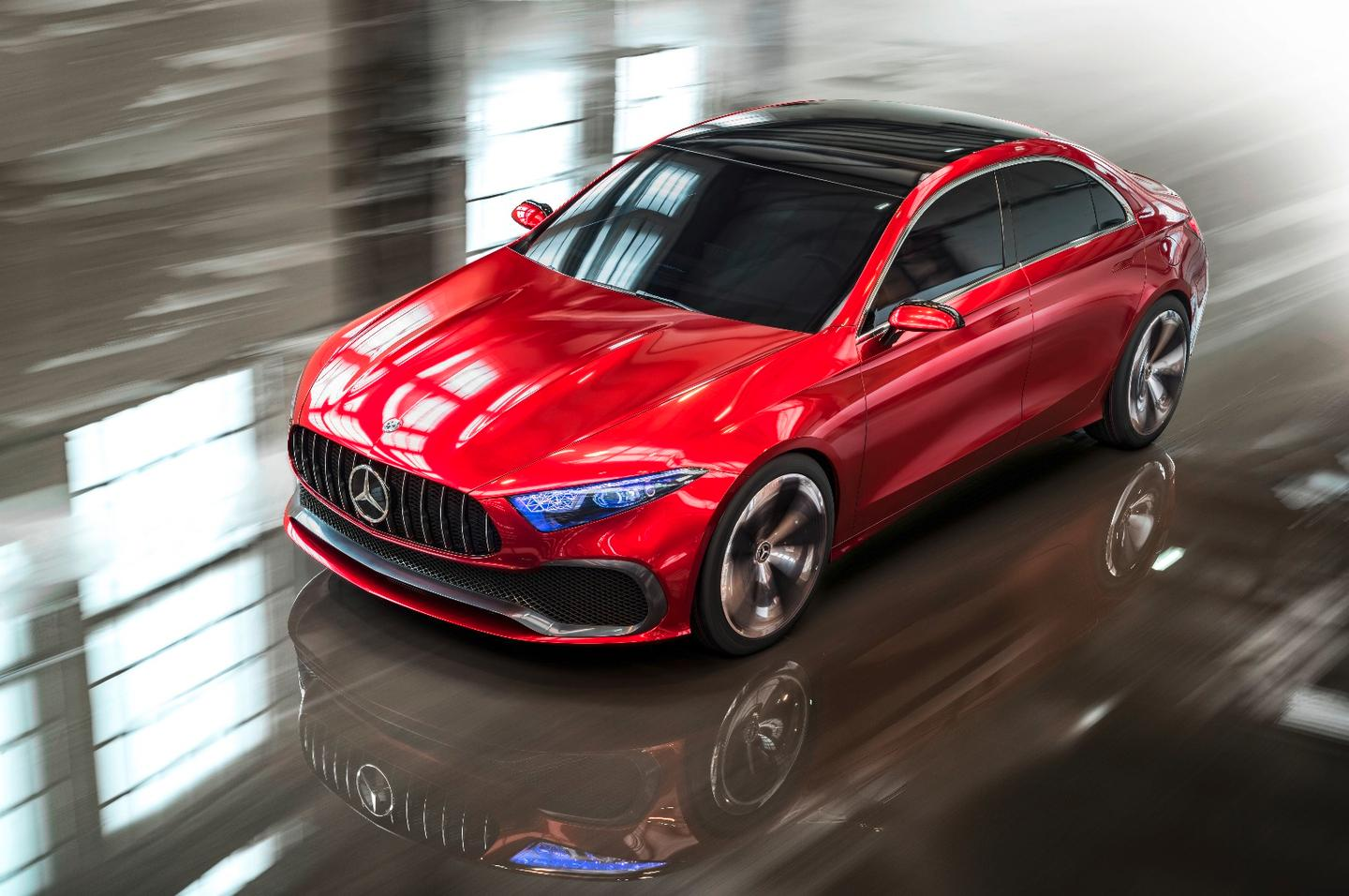The Mercedes-Benz Concept A Sedan is presently on display in Shanghai during the auto show