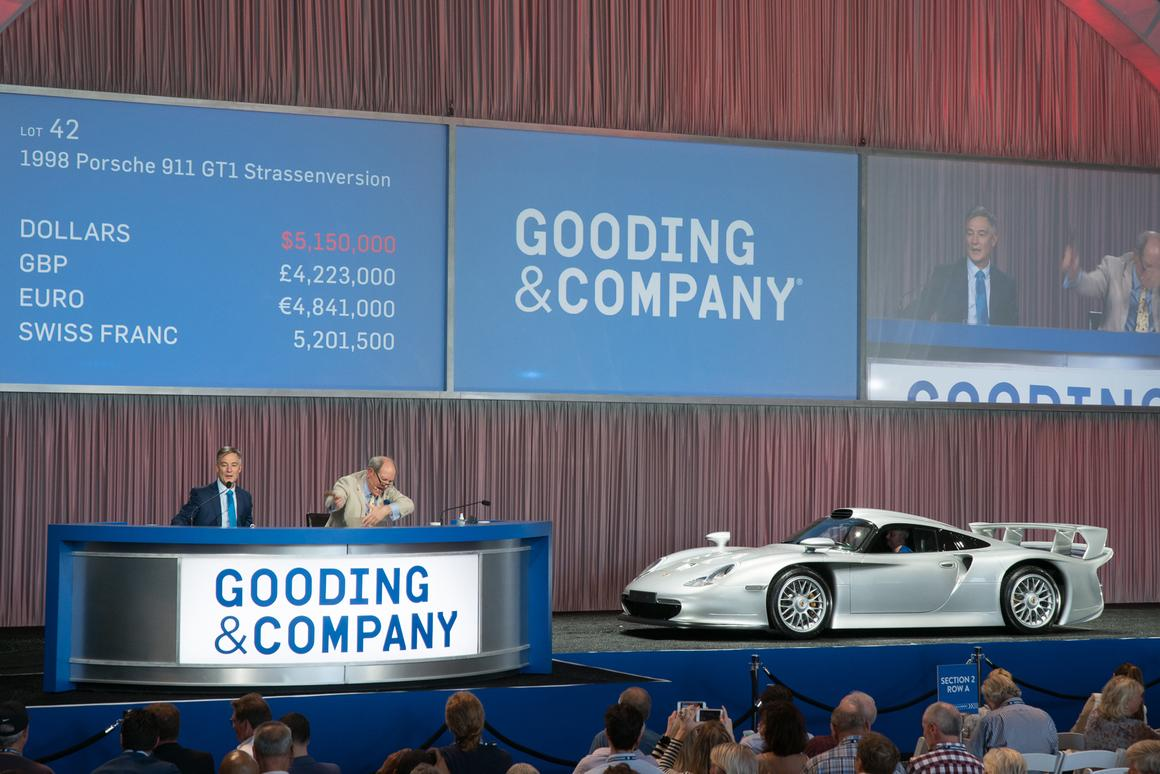One of only 20 examples built, the1998 Porsche 911 GT1 Strassenversion is the street version of the Le Mans-Winning 911 GT1. This highly original example has covered just 7,900 km from new | Sold for $5,665,000 | Official Auction Page