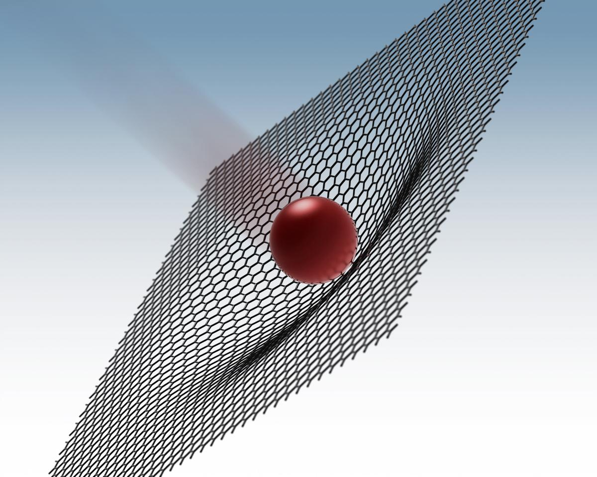 "A rendering of a 3.7 micron-wide ""microbullet"" hitting a sheet of graphene, which deforms to absorb much of its kinetic energy (Image: Jae-Hwang Lee/Rice University)"