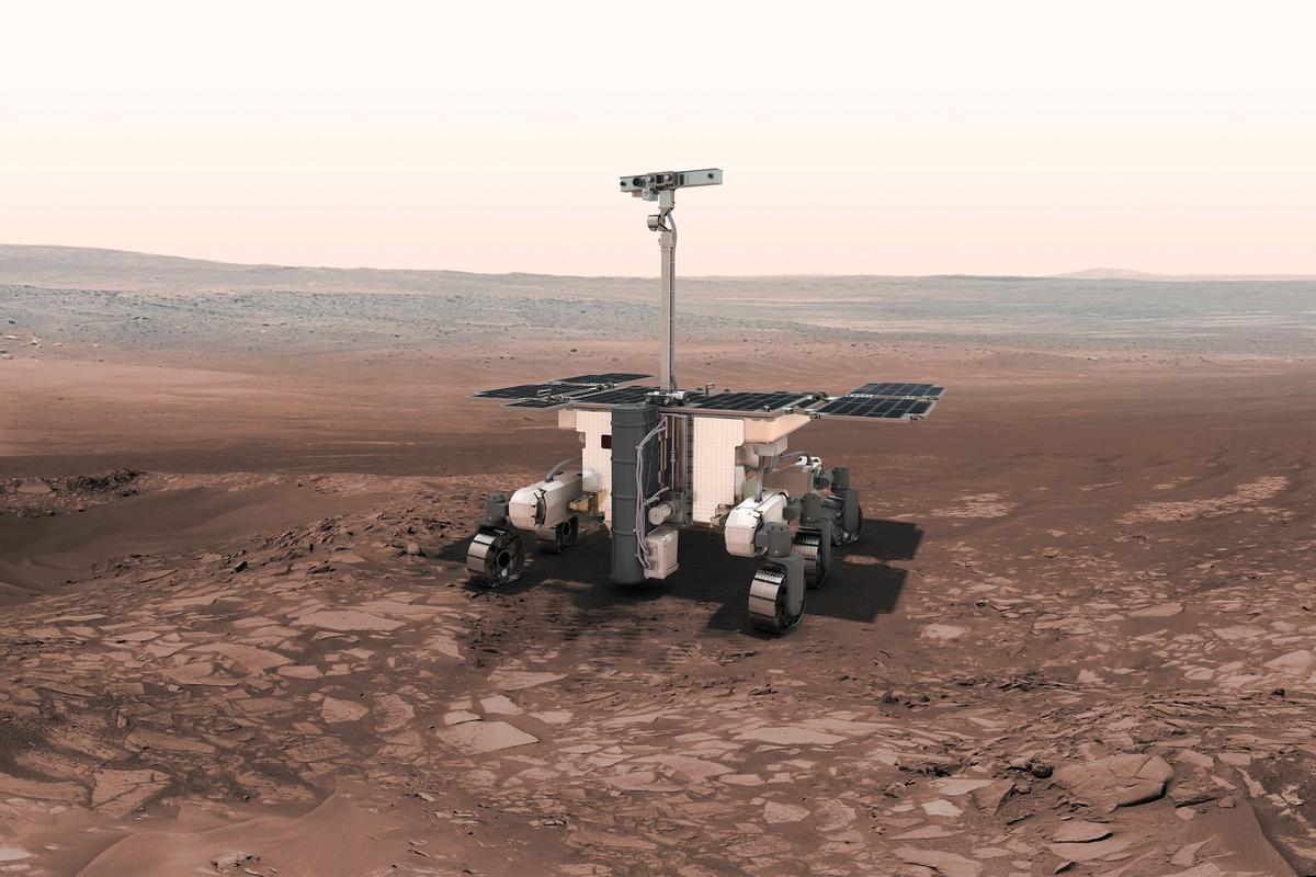 Artist's impression of the ExoMars rover traversing the Red Planet (Image: ESA)