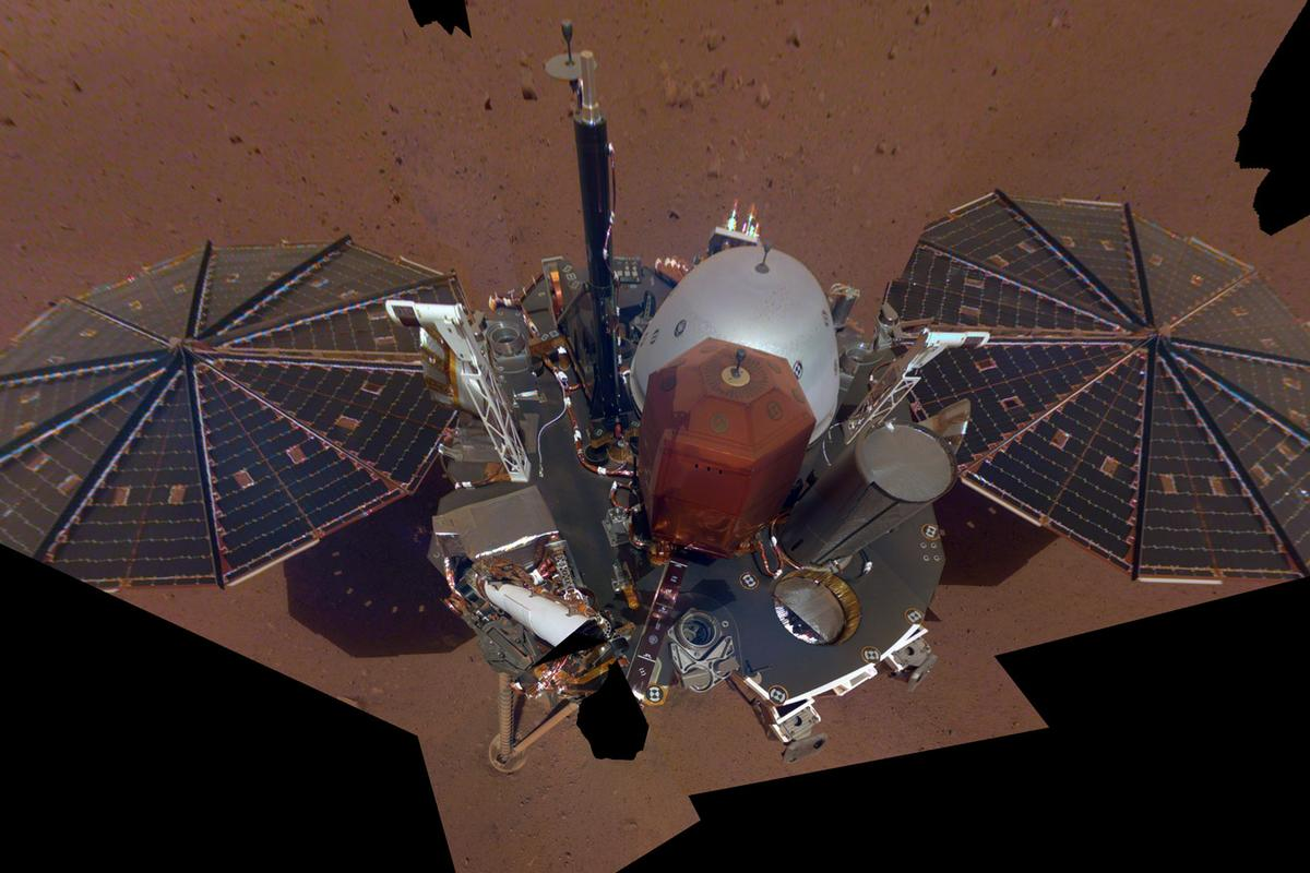 NASA InSight's first full-body selfie on Mars shows the lander's top deck, sensor packages, and solar panels