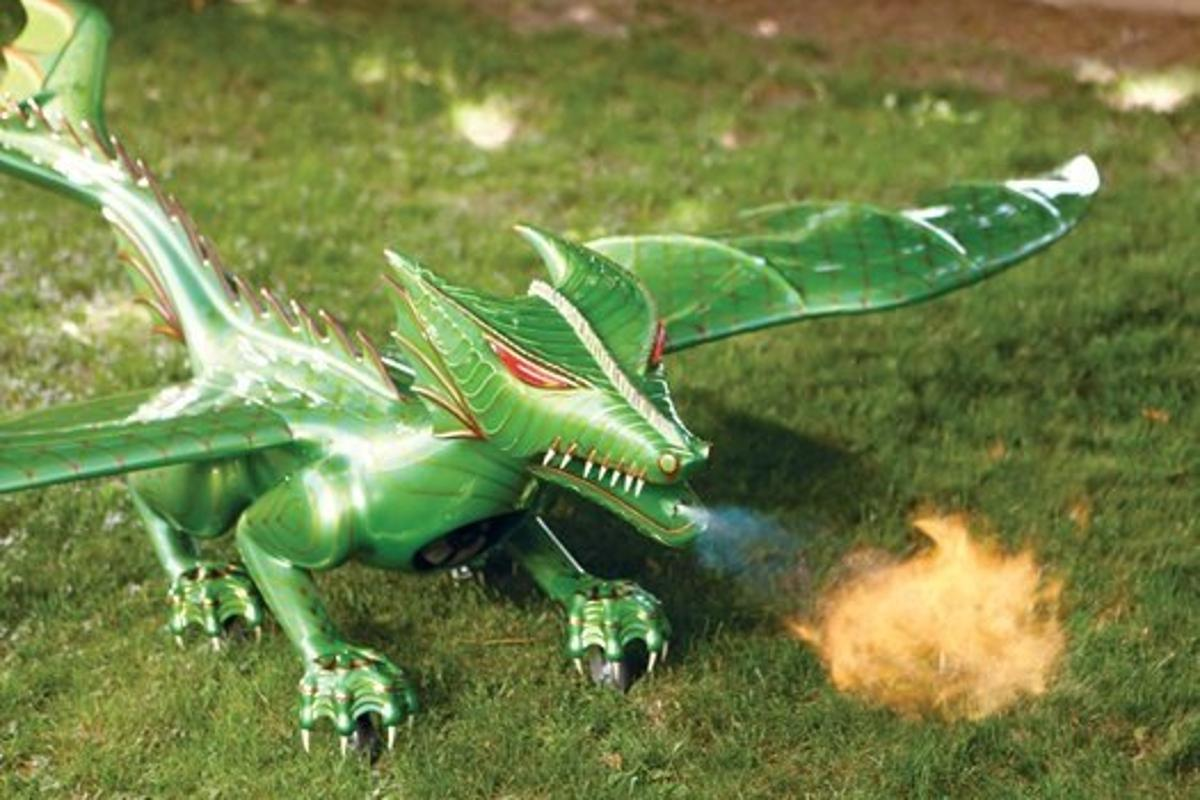 The dragon can shoot fire three feet while on the ground
