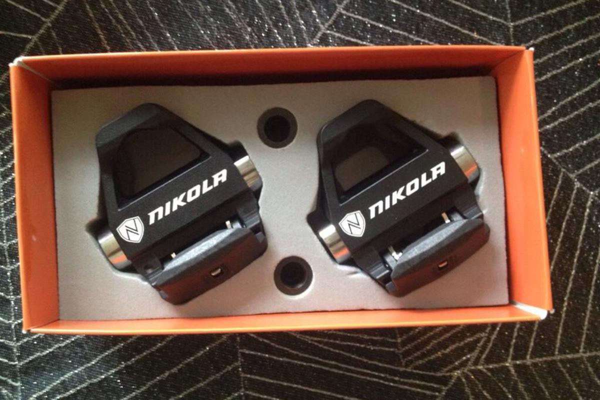 A pair of Nikola pedals at Interbike 2014