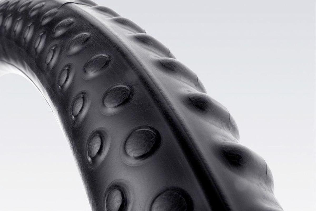 The uniquely shaped and textured Michelin Protek Max bicycle inner tube is said to compress punctures closed, instead of blowing them open