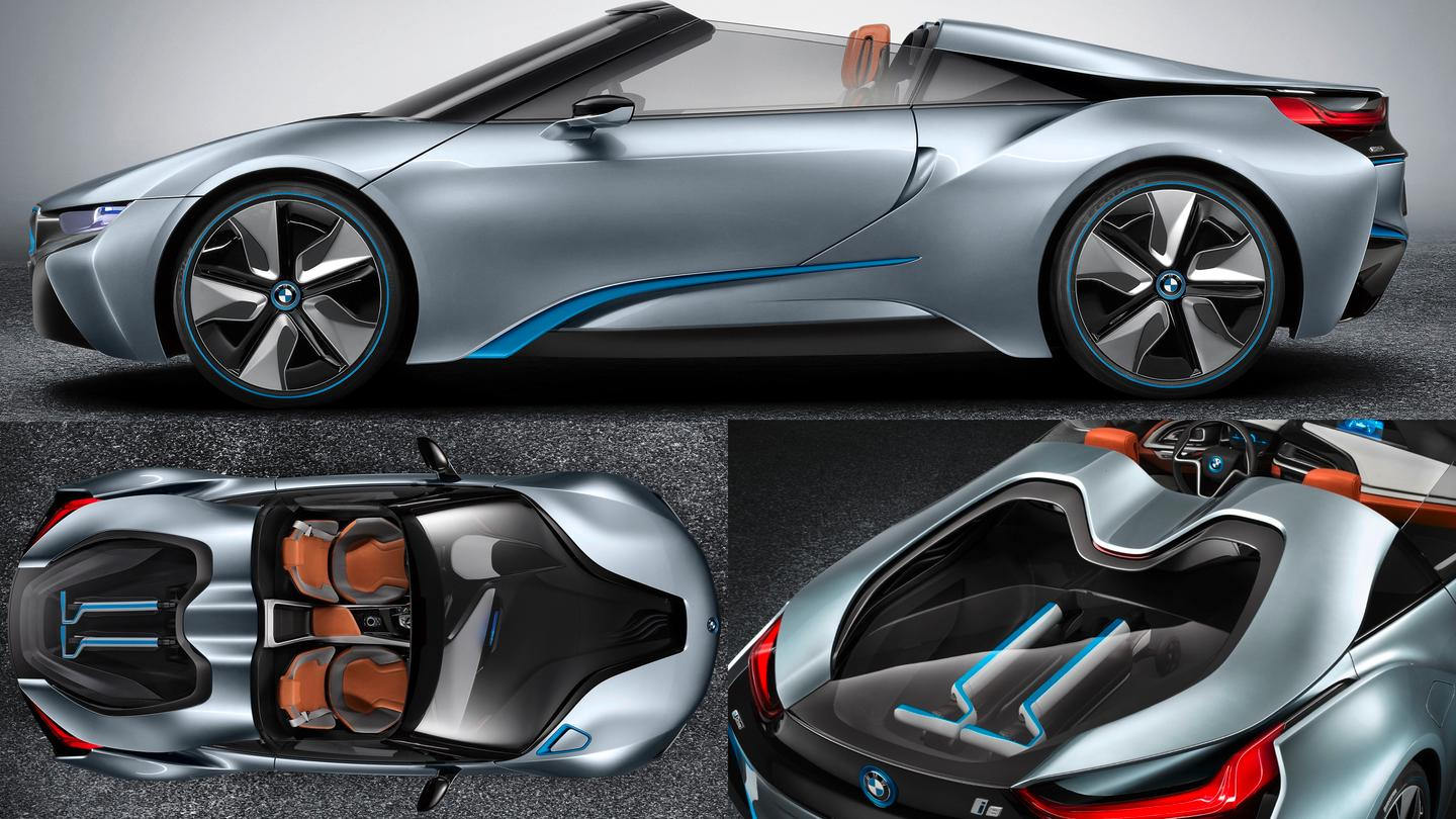 BMW's i8 Spyder with two matching BMW three-wheeled electric kick scooters in the rear