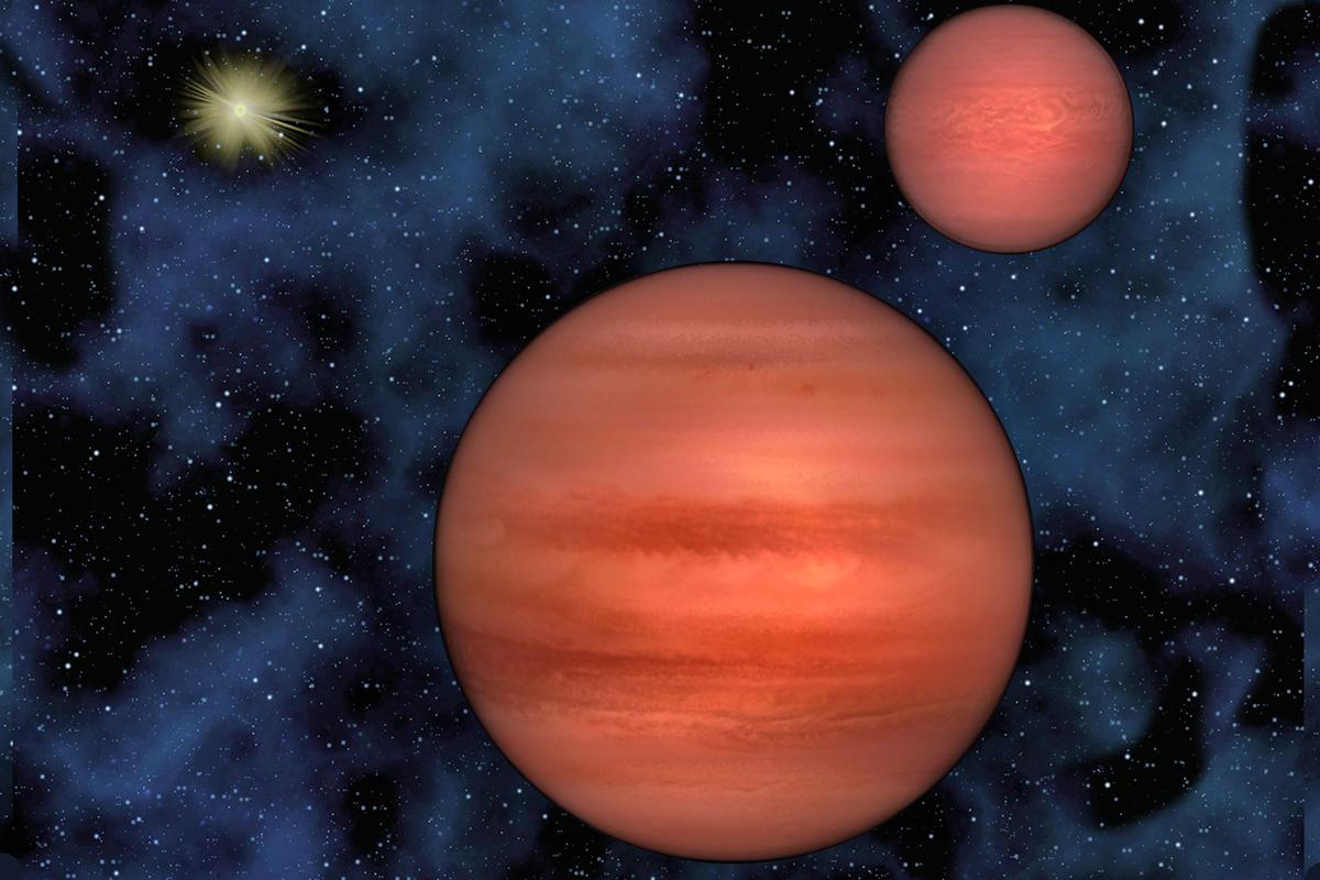 Artist's conception of WISE J1049-5319, with the brightly shining Sun 6.5 light years away in the background (Photo: Pennsylvania State University/Janella Williams)
