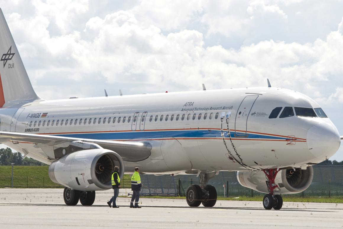 The DLR research aircraft ATRA, equipped with a fuel cell-powered electric nose wheel during testing (Image: Airbus/ C. Brinkmann)