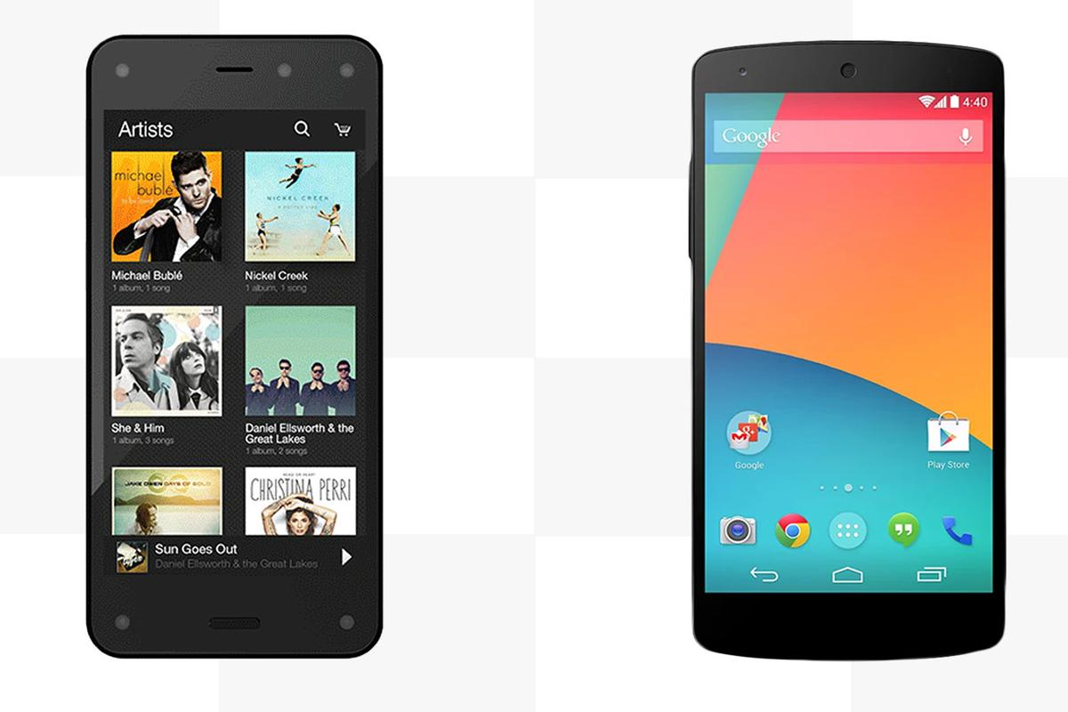 Gizmag compares the features and specs of the Amazon Fire Phone and the LG/Google Nexus 5