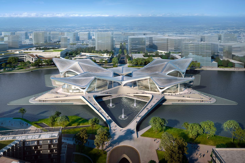 The Zhuhai Jinwan Civic Art Centre is located in Guangdong, China