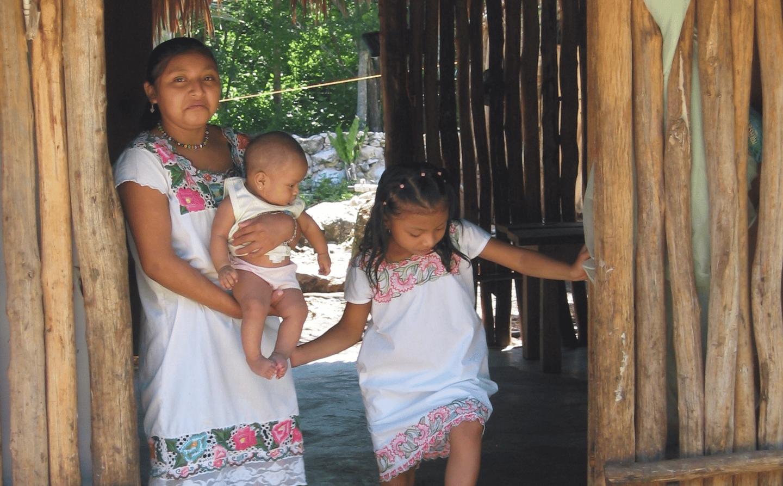 Members of a Mayan family from the Yucatan Peninsula, Mexico