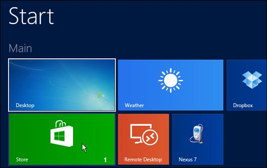 Select the Windows Store tile to get the 8.1 update