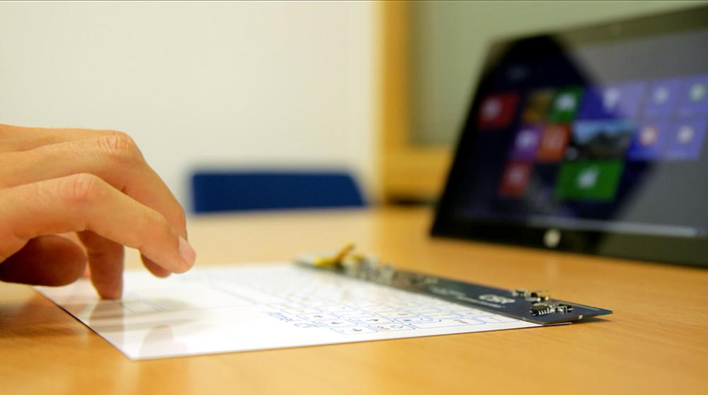 CSR's ultra-thin touch surface can bring a full-sized keyboard experience to protective tablet covers or add touch-sensitive areas to a desktop workspace