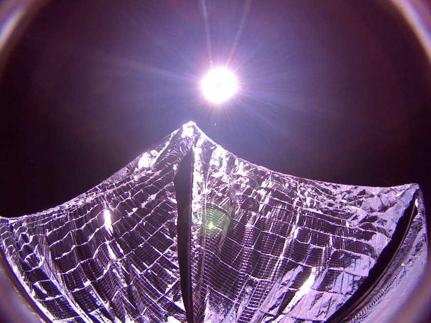 LightSail with its Mylar sail partially deployed