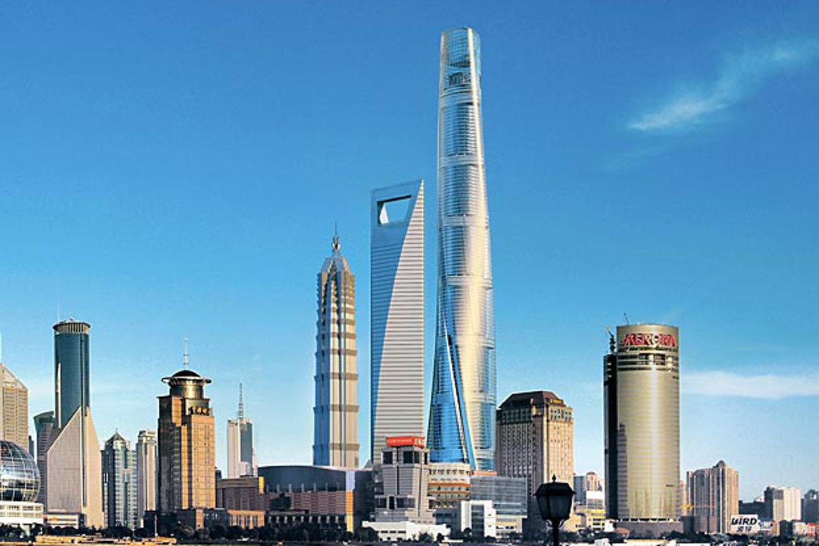 The Shanghai Tower (the tall one) will be one of the first buildings to have ultra-high-speed elevators developed by Mitsubishi (Image: Gensler Architects)