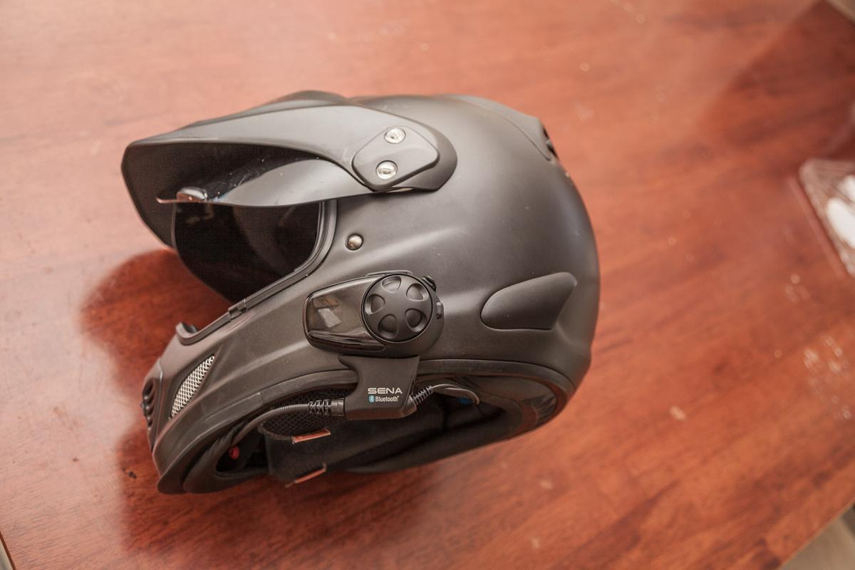 The SMH10, mounted on an Arai XD3 helmet