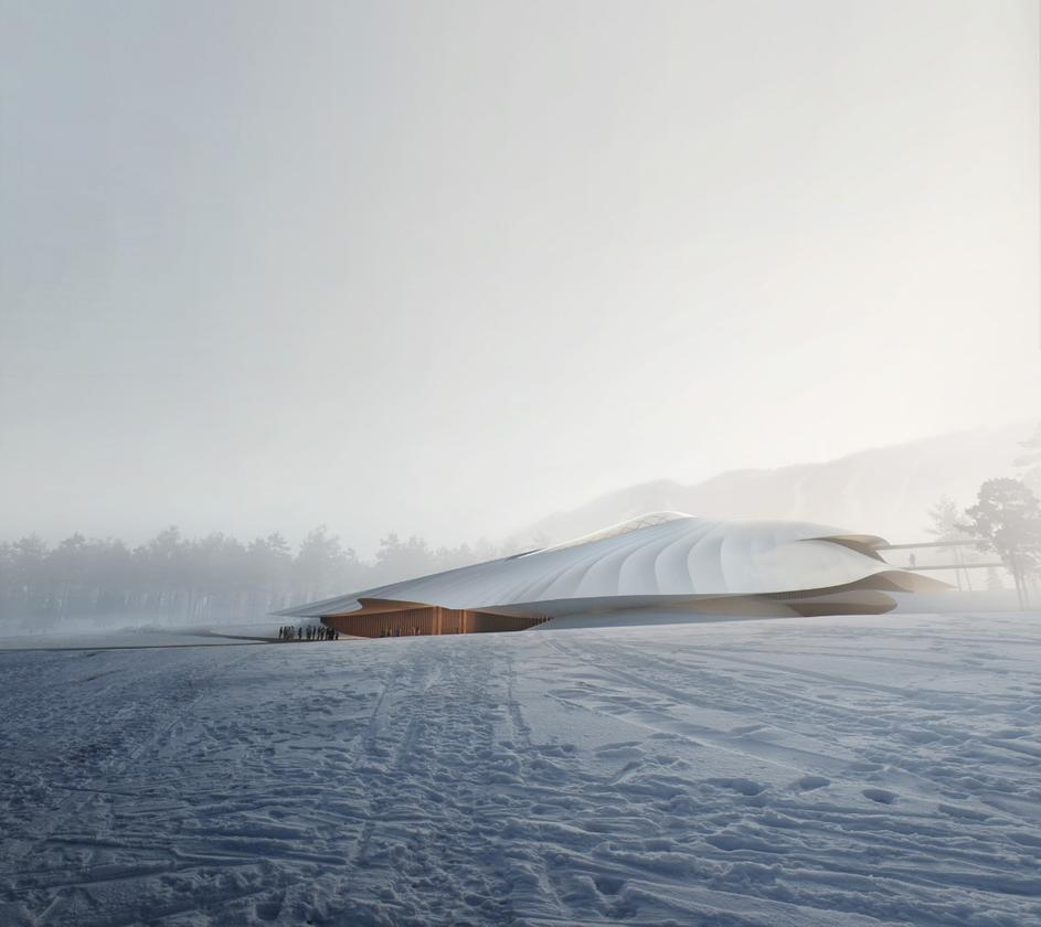 Rendering oftheYabuli Conference Centre by Mad Architects