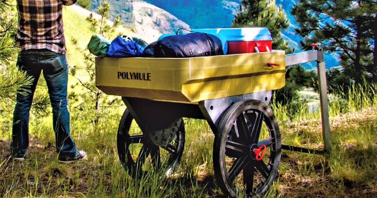 Collapsible cart rolls to the wilderness, acts as a waterproof basecamp