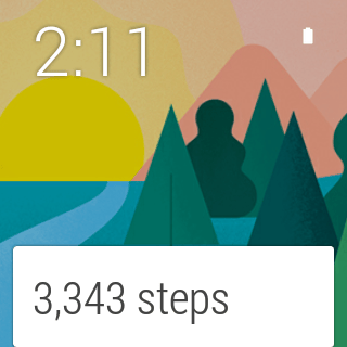 One example of an Android Wear watch face, while in active mode (note the step-tracking card featured at the bottom)
