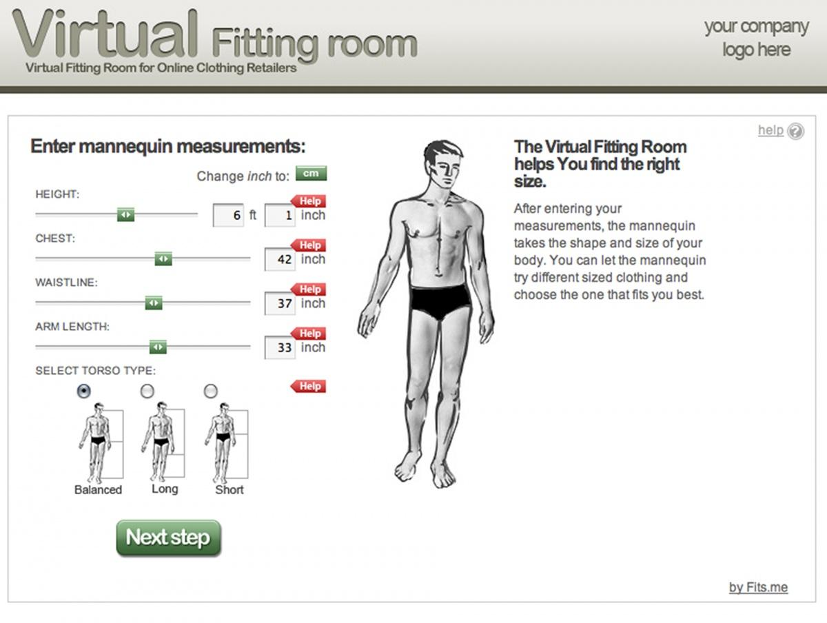 Fits.me lets you choose which size suits your body shape