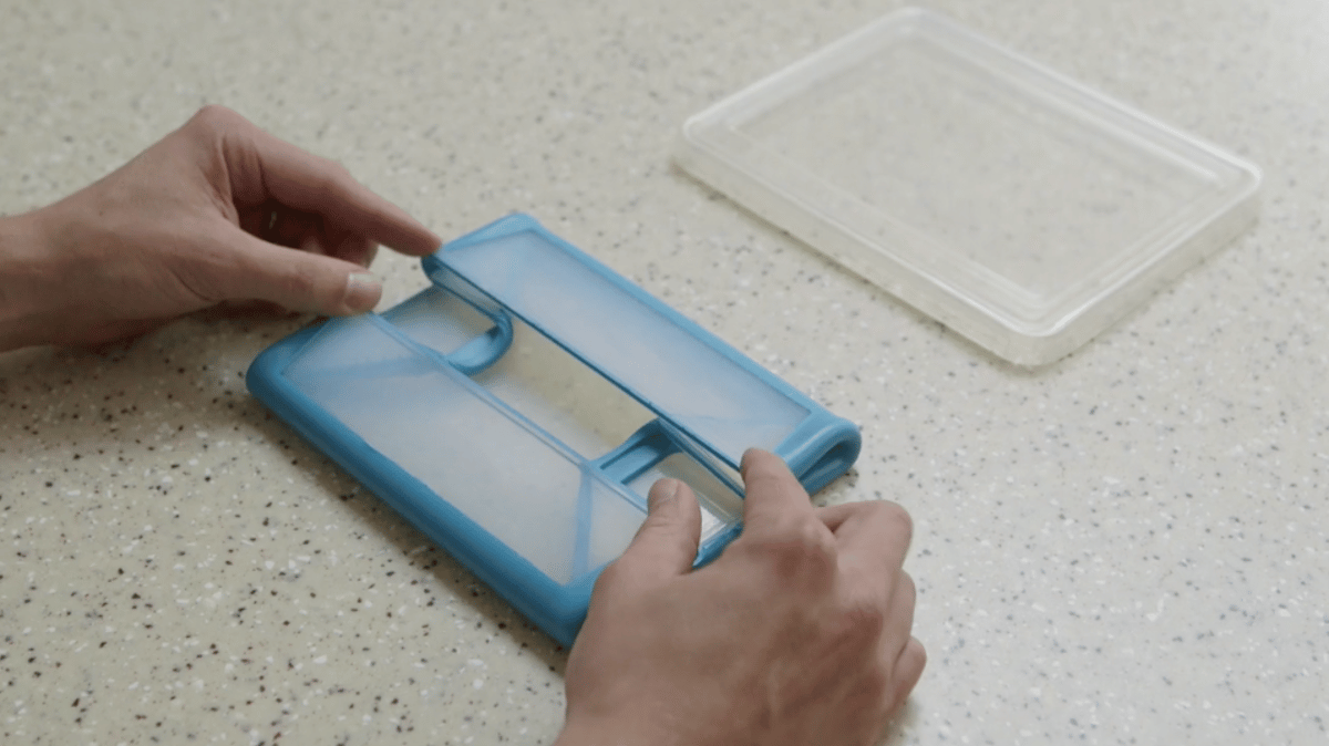 Each end of the FoldFlat container is fitted with strategically placed folds that allow it to be squashed down to a slim package when not in use