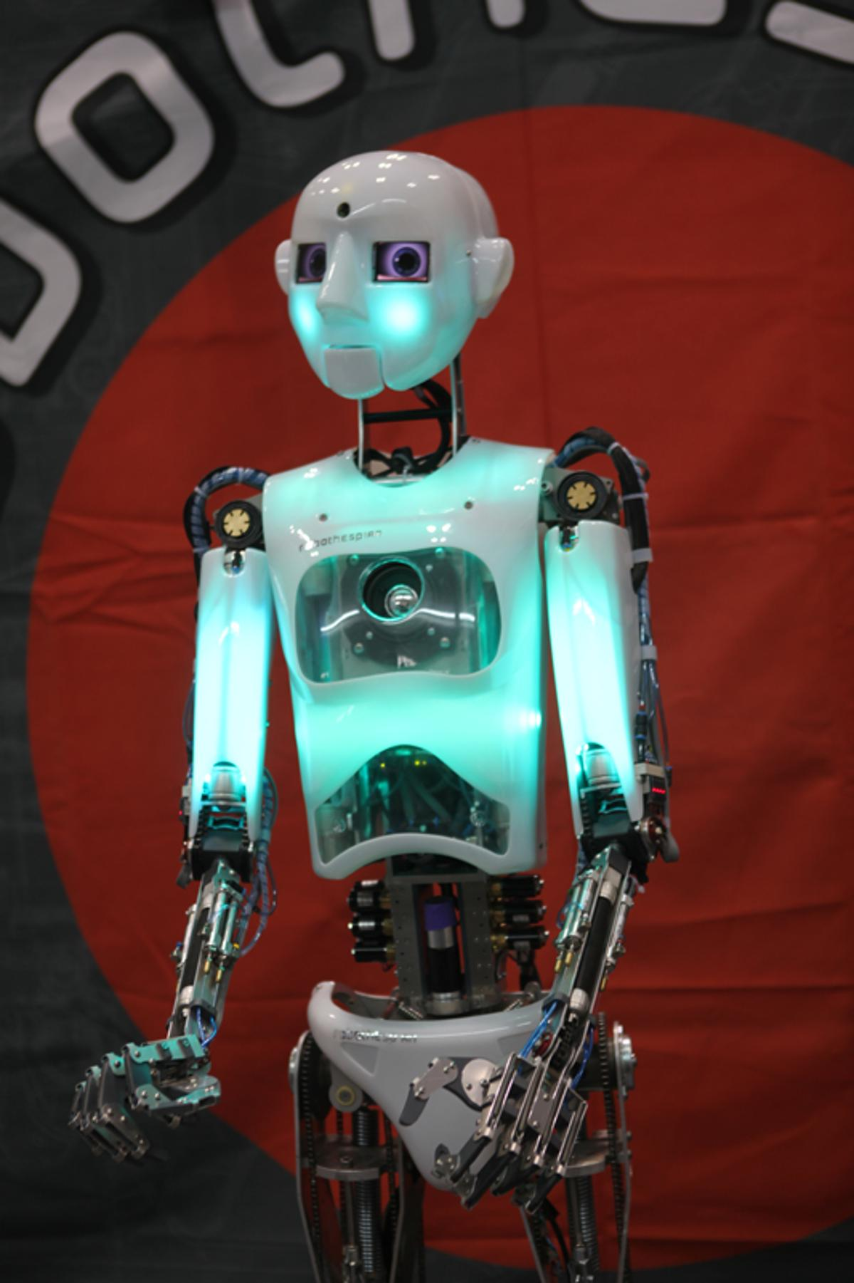 The Robothespian presentation, telepresence and acting humanoid robot by Engineered Arts Ltd. is designed for science education purposes