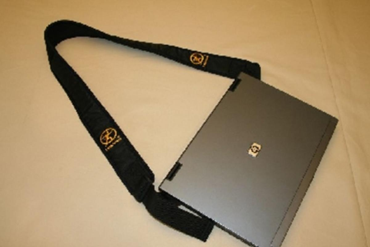 Close screen to secure The Lapstrap in place