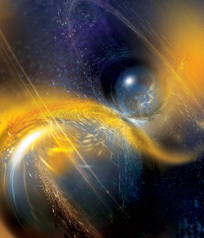 An artist's impression of two neutron stars colliding