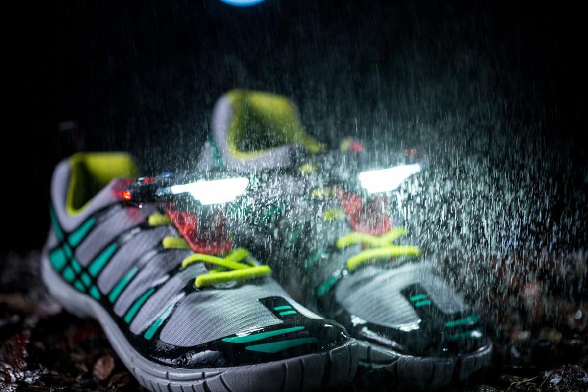The Night Runners are water-resistant, lightweight, bright LEDs that clip onto the laces of your running shoes to illuminate your way with a 270-degree arc of light