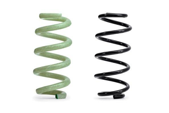 Audi's GFRP springs (left) are lighter than the steel units they replace