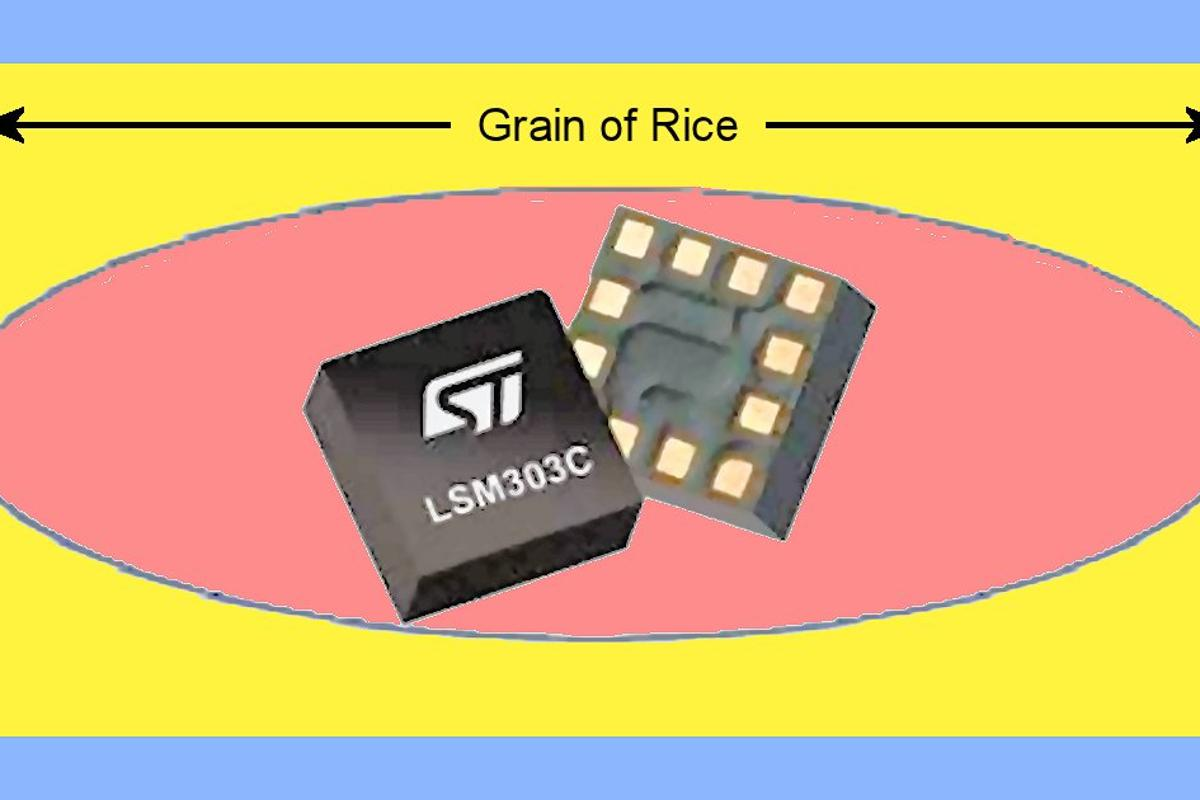 The tiny eCompass chip provides magnetometer and accelerometer capabilities (Image: STMicroelectronics)