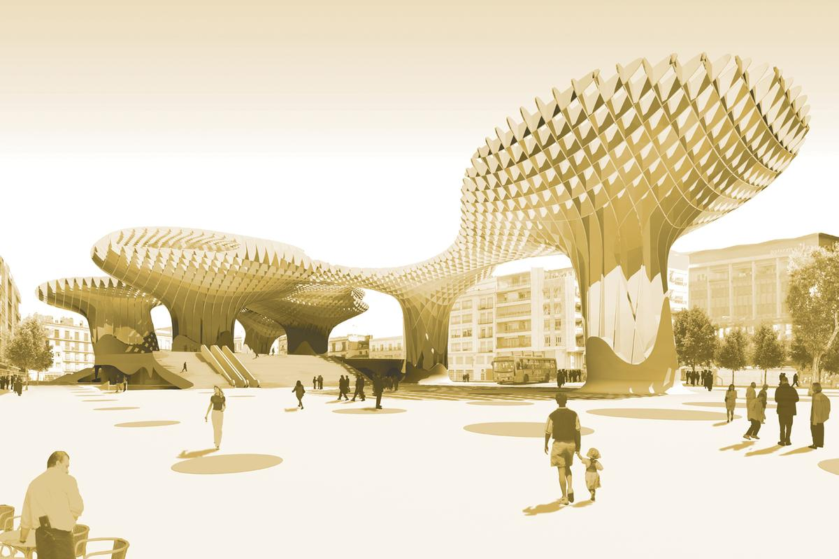 """The giant mushroom-like structure that is the """"Parasols"""" in Seville, Spain, are glued, not bolted, together using a special gluing technique was devised to withstand the extreme summer heat"""