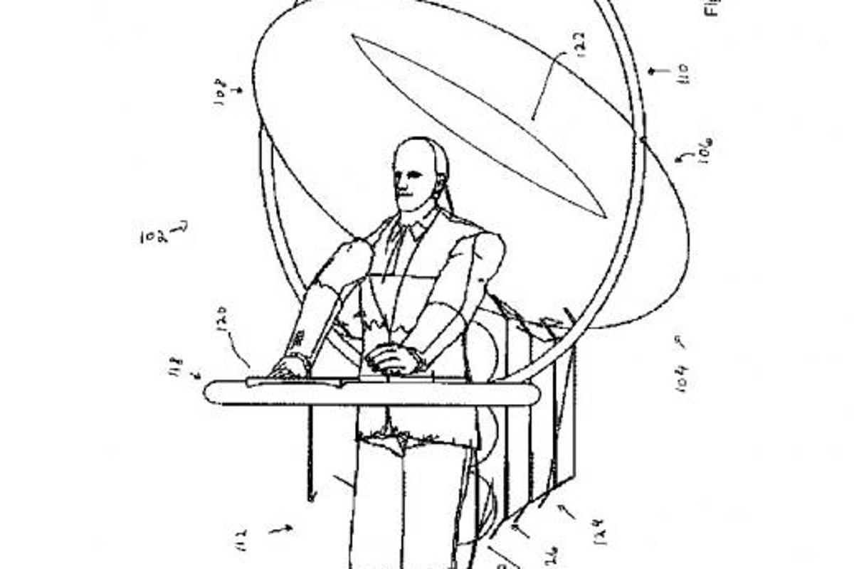 One of the diagrams included in the Personal Flight Systems patent