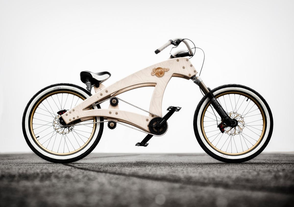 The Sawyer is a lowrider cruiser bicycle, with a frame built from beech plywood