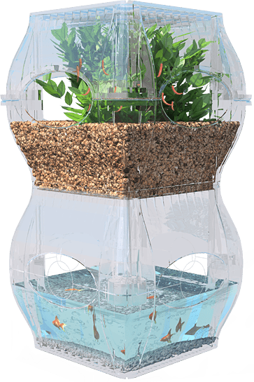 The Aqualibrium is modular (identical stackable sections hold the fish and the plants) and looks quite chic and futuristic