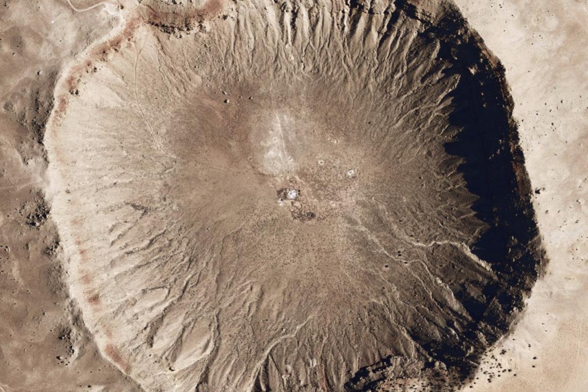 Aerial view of Meteor Crater in northern Arizona