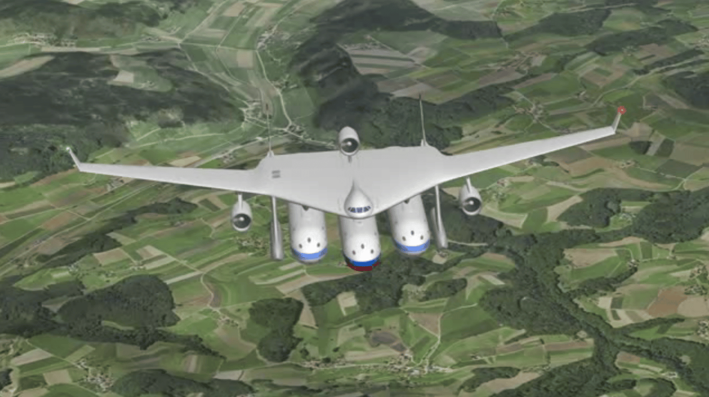 The flying wing provides propulsion, control and landing gear for the Clip-Air
