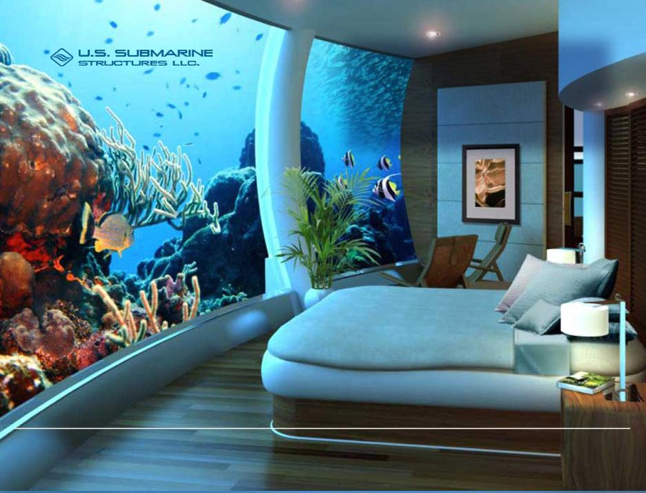 Artist's impression of ground floor master bedroom with panoramic ocean view (Image: US Submarine Structures)