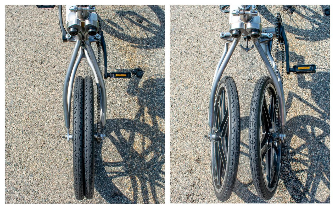 The MIT Autonomous Bicycle's rear wheels, in bicycle and tricycle modes