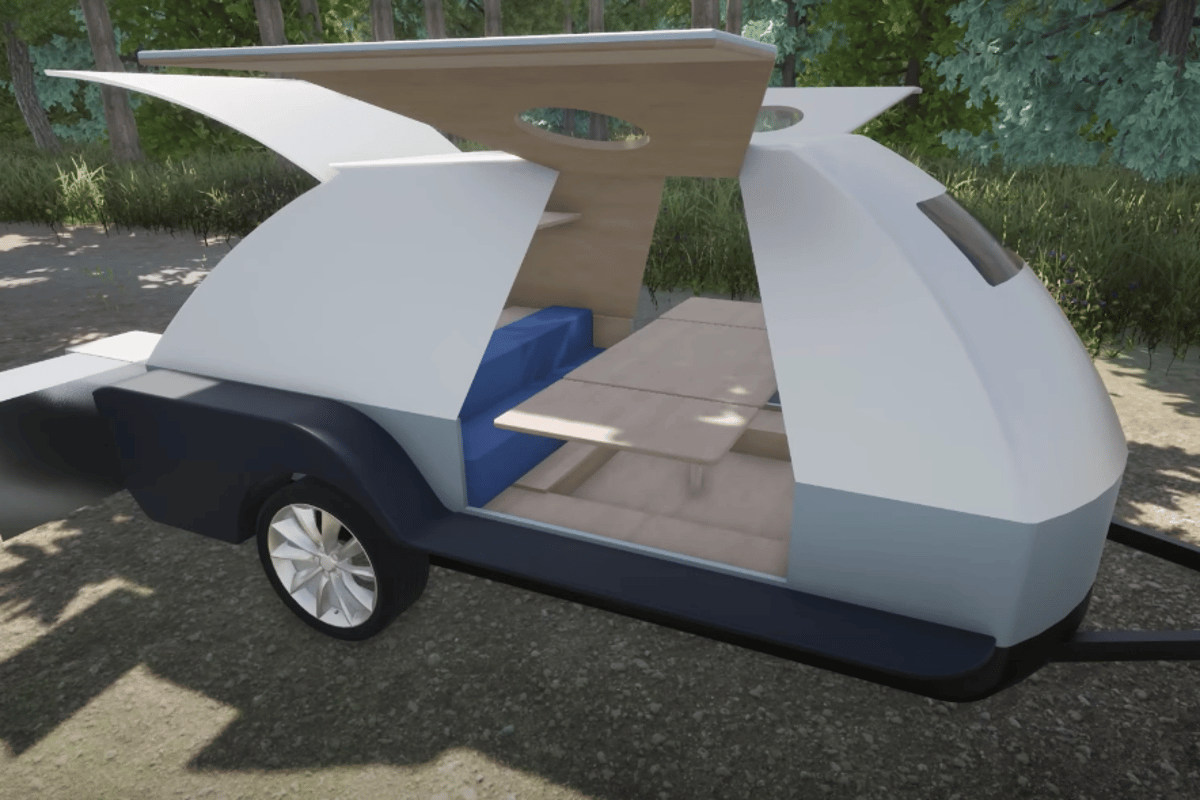 More complex than many teardrops, the Boulder has a convertible dinette inside and offers a queen bed and bunks