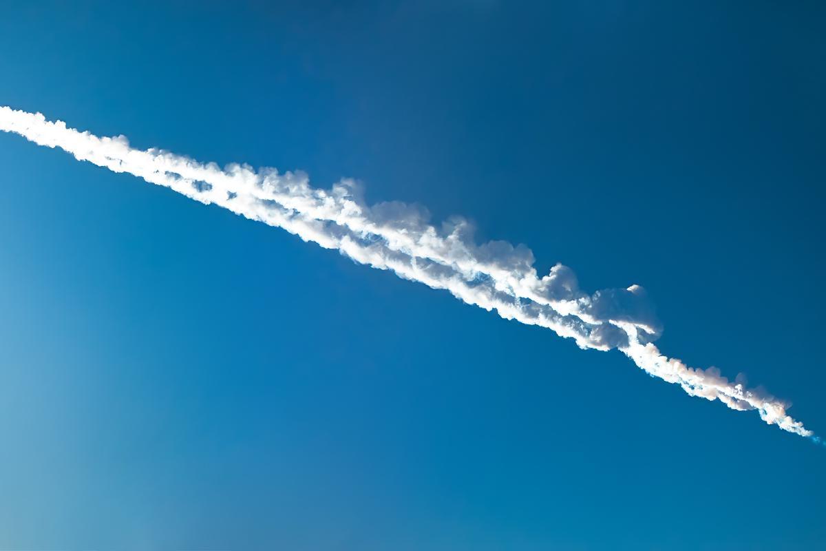 The trail of last year's headline-grabbing meteorite near Chelyabinsk, Russia (Photo: Shutterstock)