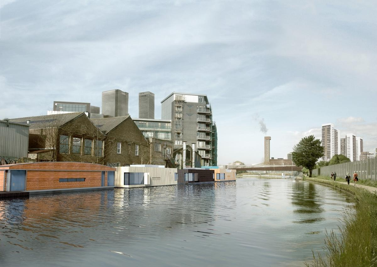 The finalists include Buoyant Starts from Floating Homes Ltd with Baca Architects, which to London's miles of waterways for a solution to the city's housing problem